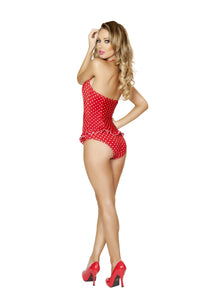 3118 - Red and White Polkadot Scrunched Front Pinup Romper