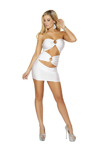 3130-White 1pc Cut out Tube Dress