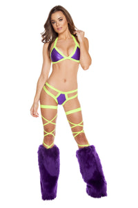 3197 - Purple/Yellow Two Tone Halter Top with Double Strap Pucker Back Bottom