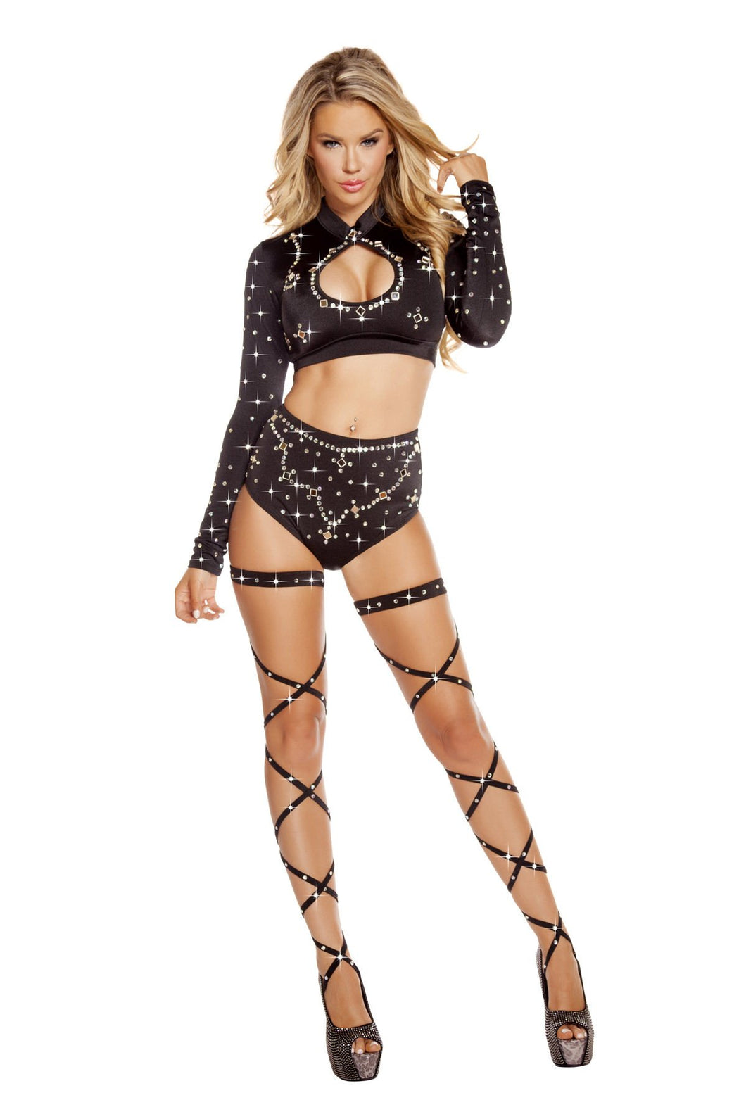 3204 - Black Long Sleeved Crop Top & High Waisted Shorts with Rhinestones