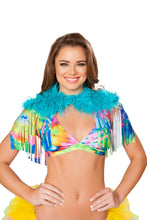 3252 - Fringed Shrug with Fur Detail