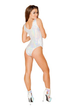 3427 - Roma Rave White Romper with Lace-Up Detail