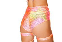 3455 - Roma Rave High Waisted Shorts in Shell Tie Dye