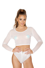 1pc Sheer Long Sleeved Crop Top