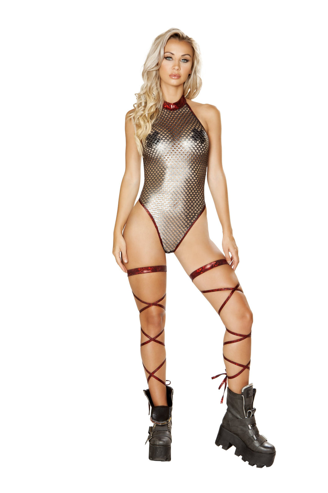 1pc Fishnet Metallic Romper