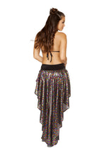 3591 - 1pc Sequin Shorts with Asymmetrical Attached Open Front Skirt