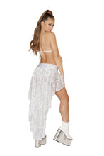 3593 - 1pc Sequin Shorts with Asymmetrical Attached Open Front Skirt