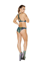 3602 - 2pc Iridescent Bikini Set with Overall Buckle Detail