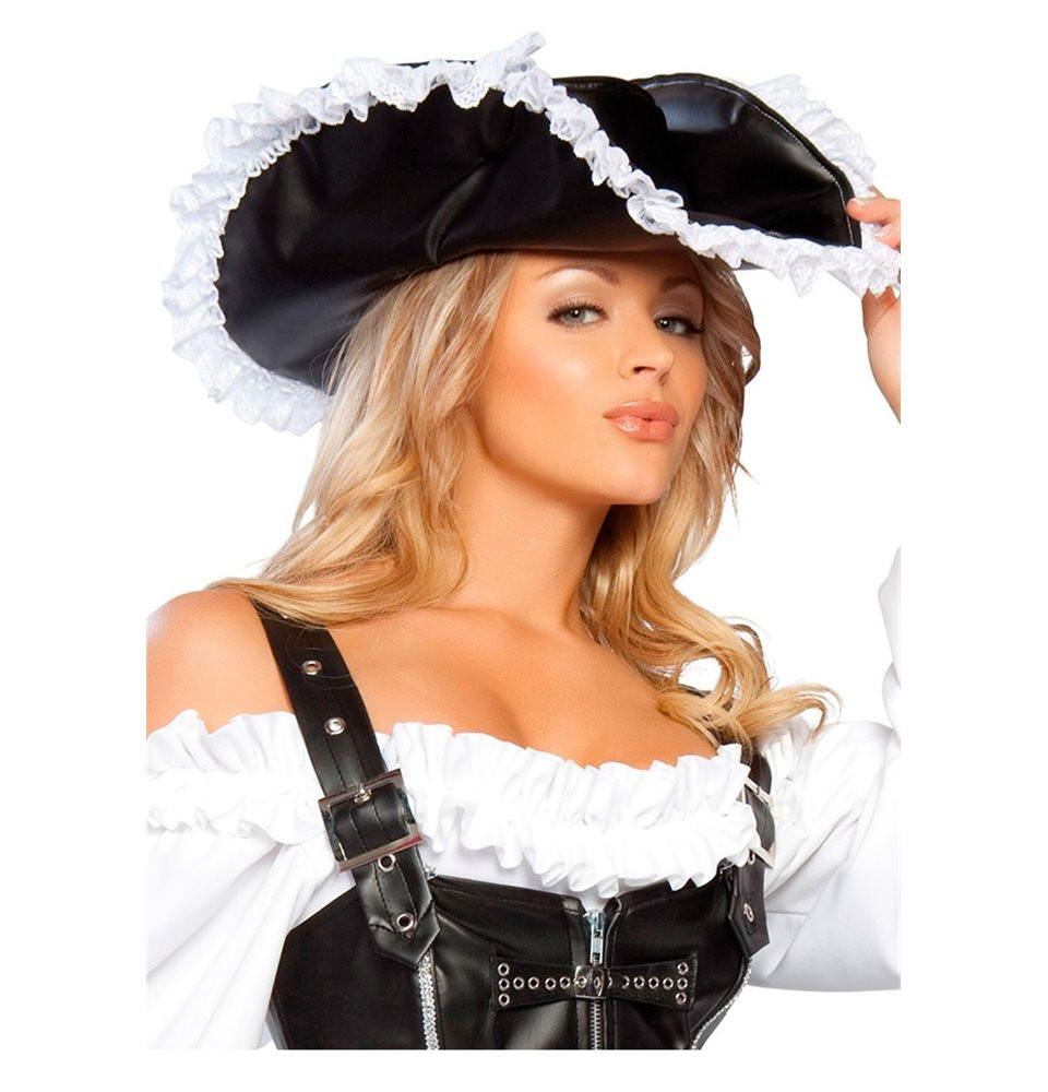 H110-Leatherette Pirate Hat - Roma Costume Accessories