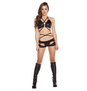 SH3185 - Black/Black - Cut-out Thong/Shorts with O-Rings - Shorts - Roma Costume New Arrivals,New Products,Shorts