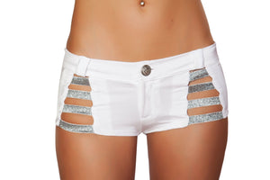 SH3326 - White Shorts with Shiny Straps and Button Front Detail