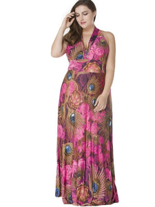 Plus Size Peacock Pattern Women's Maxi Dress