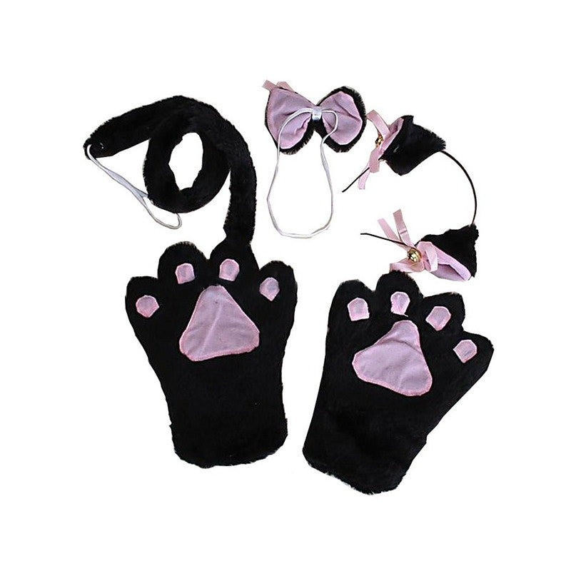 4pcs Cosplay Costume Cat Ears Headband Collar Cuffs Set