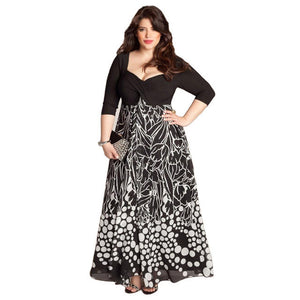 2018 Women Casual Plus Size Summer Elegant Retro Dress Evening Party A Line Plus size Vintage Print Dress 5XL vestidos