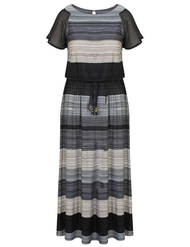 Chicwe Women's Plus Size Printed Maxi Dress Raglan Sleeves with Waist Belt US16-26