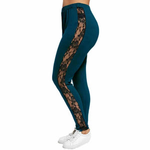 Women Plus Size Elastic Leggings Lace Floral Splicing Sport Pants Sport Pants