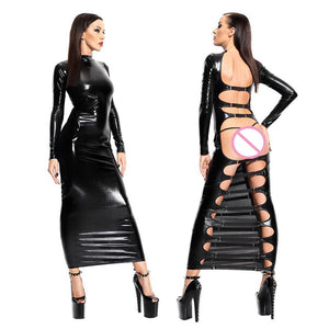 Sexy Black Leather Latex Women Night Club Dress