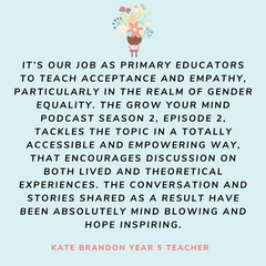 testimonial from year 5 teacher about the podcast