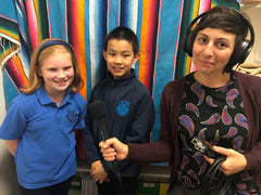 photo of primary school students taking part in the podcast
