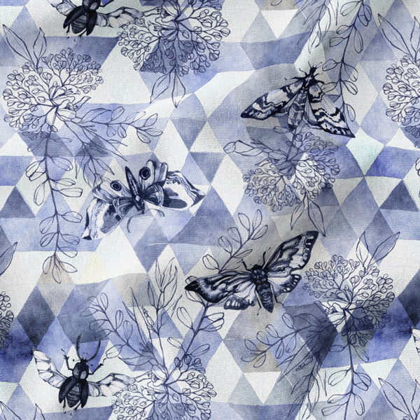 zingara organic fabrics organic jersey knit 95% cotton 5% lycra spandex  blue geometric triangles flowers butterfly critters french terry