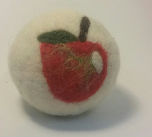 felted wool dryer ball, natural, sheep wool, lanolin, needle felting, laundry, hand made