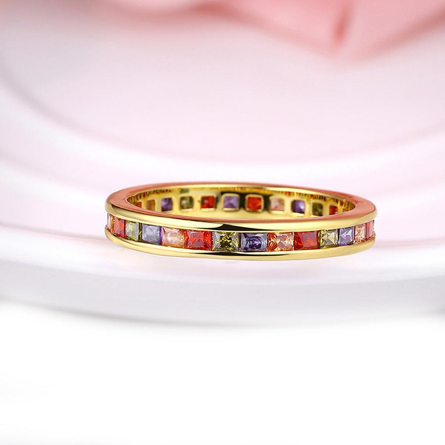 Rainbow Swarovski Elements Pav'e Mid 18K GoldRing
