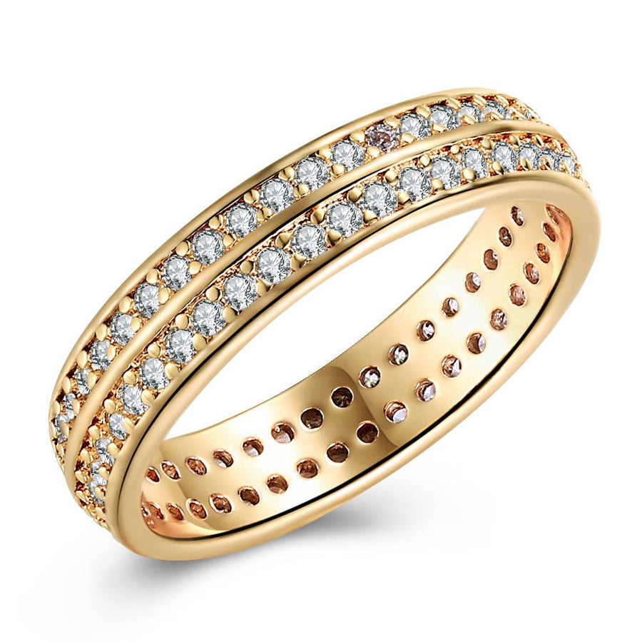 Two Lining Swarovski Elements 18K GoldPlating Band