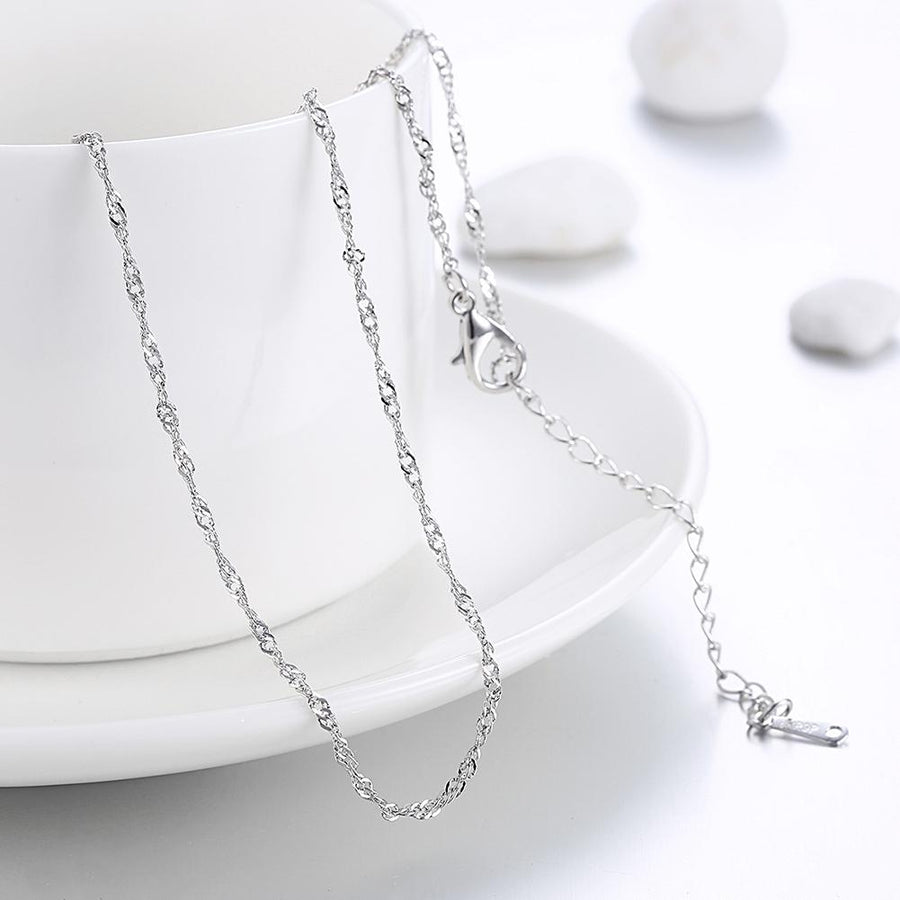 18K White Gold Plated Twisted Roc Chain Necklace - InspoArt