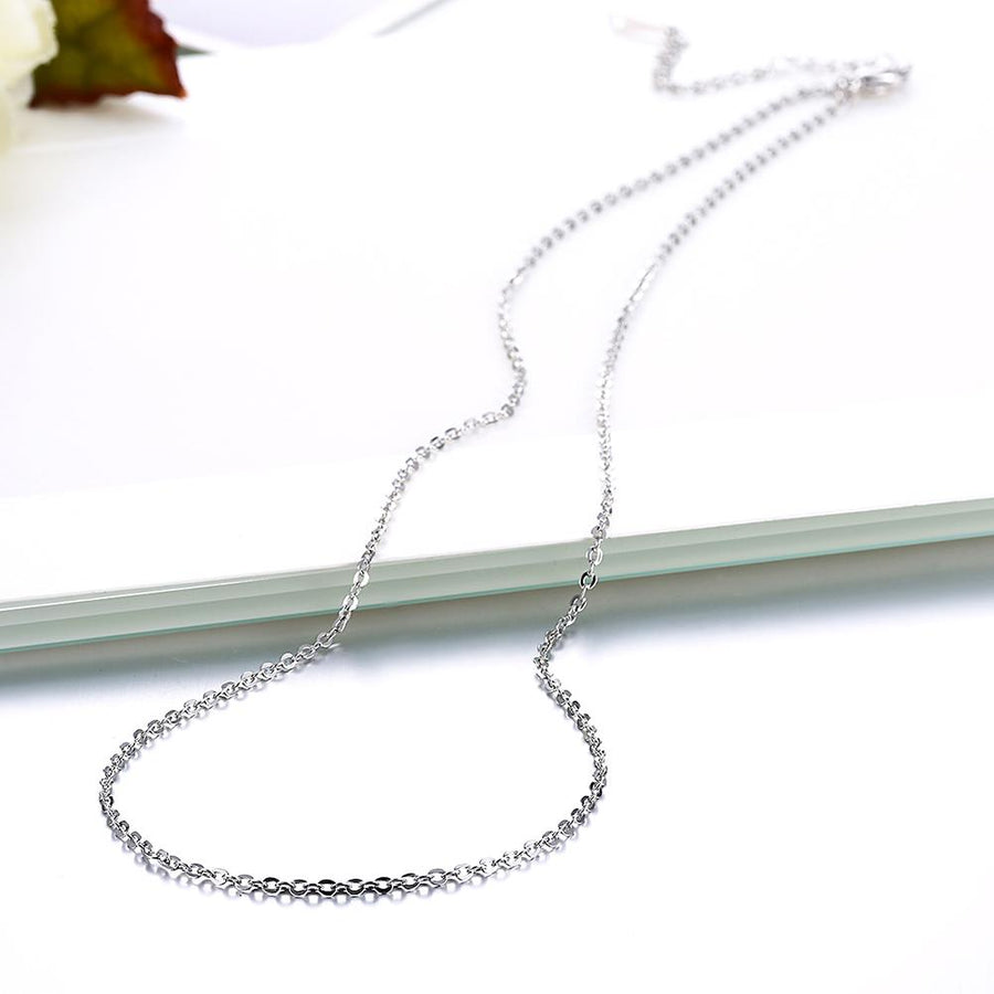18K White Gold Plated Sleek Chain Necklace - InspoArt
