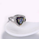 Mystic Topaz Triangular Cocktail Ring in 18K White Gold