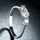 Three Stone Swarovski Elements Ring in 18K White Gold