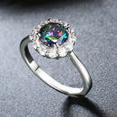 Floral Shaped Mystic Topaz Ring - InspoArt