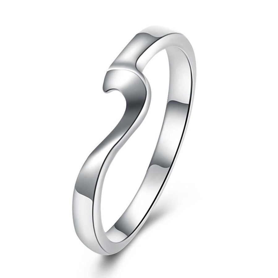 18K White Gold Plated  Curved Abstract Ring - InspoArt