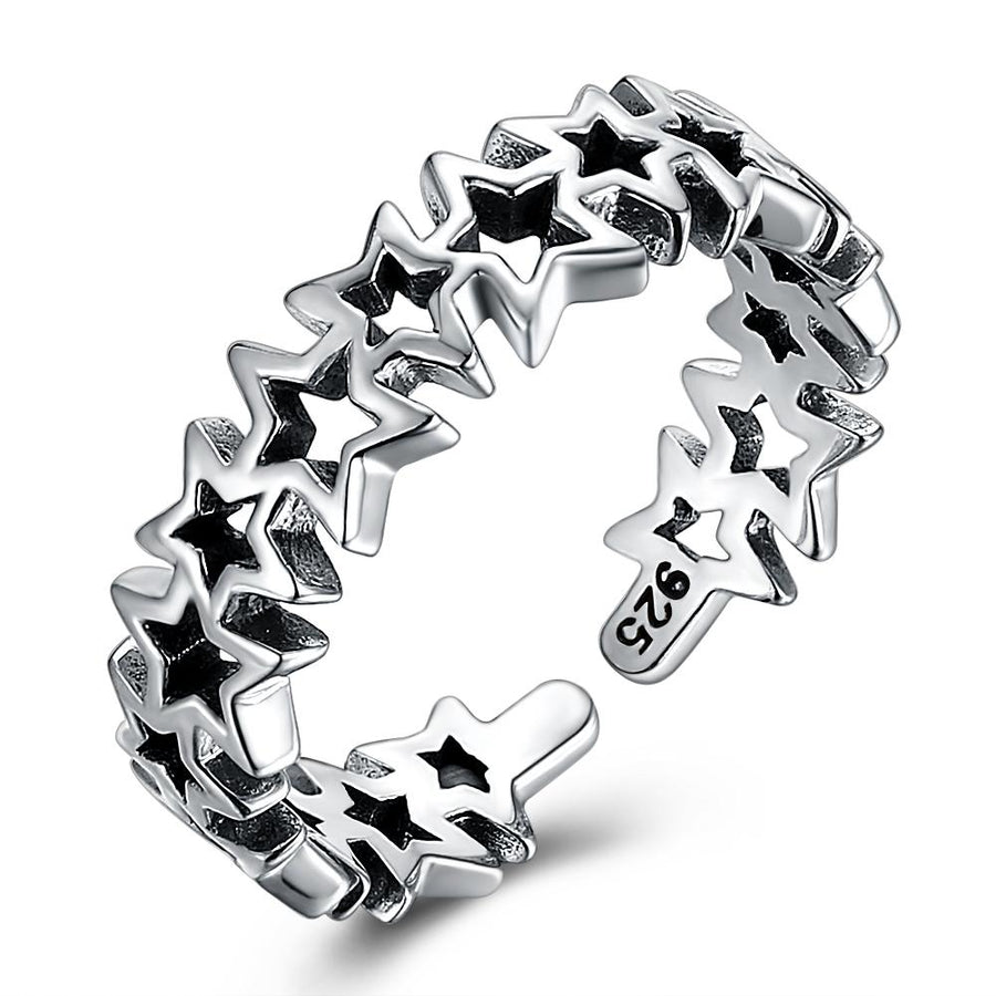 Sterling Silver Star Full of Stars Adjustable Ring