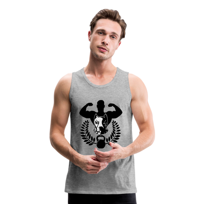 Men's Premium Tank - Dog lover body builder - heather gray