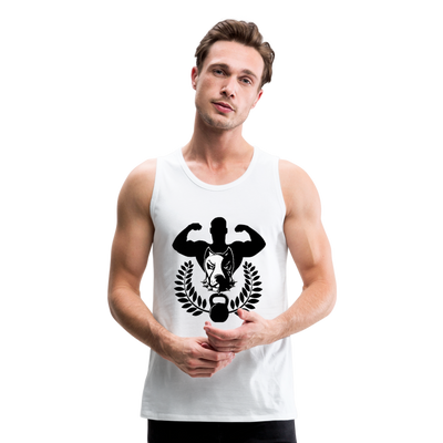 Men's Premium Tank - Dog lover body builder - white