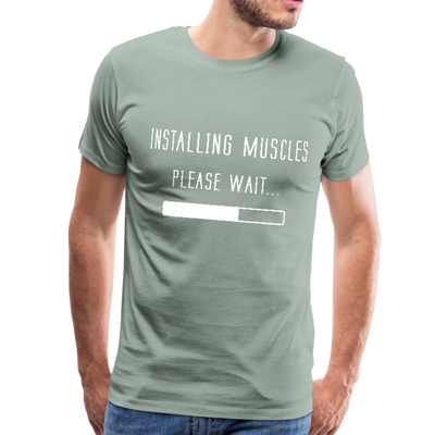 Men's Premium T-Shirt - Installing muscles, please wait - steel green