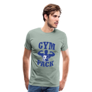 Men's Premium T-Shirt-Wolf Gym Pack - steel green