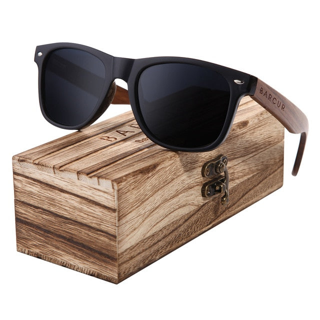 Black Walnut Wooden Polarized Sunglasses for Men with Wooden Original Box - InspoArt