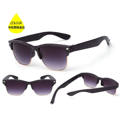 Auti-UV semi rimless Wooden Sunglasses for Men and Women - InspoArt