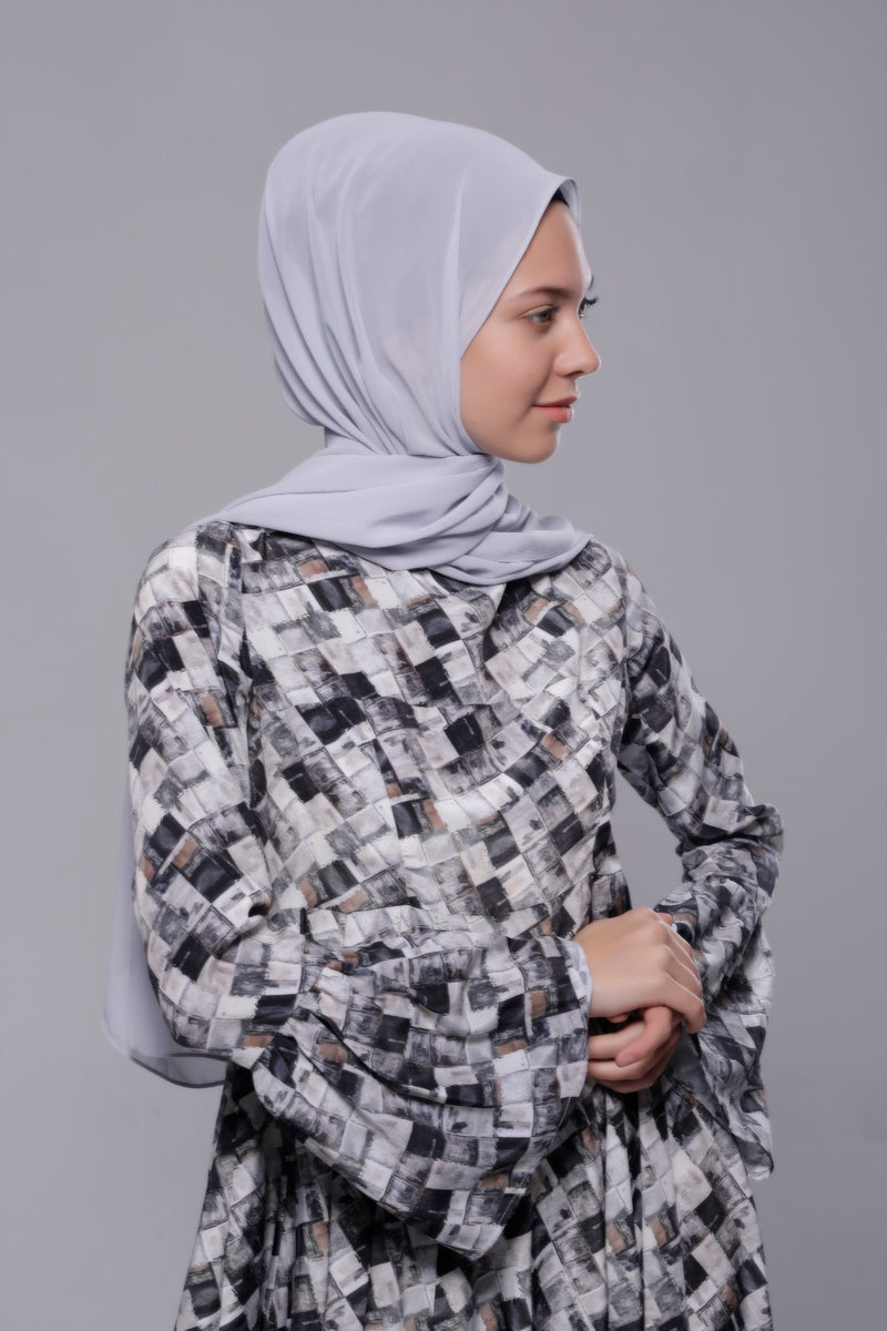 HIJAB MOUSSELINE ROYALE GRIS SOURIS