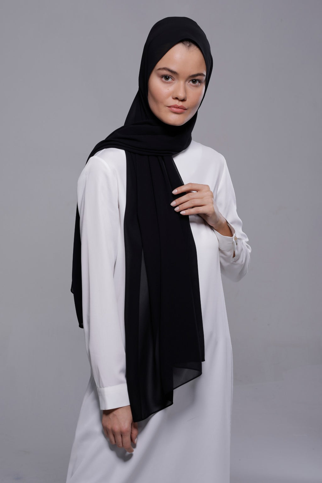 HIJAB MOUSSELINE LUXURY NOIR