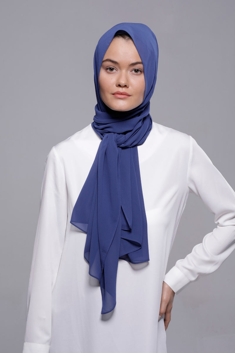HIJAB MOUSSELINE LUXURY BLEU PÉTROLE