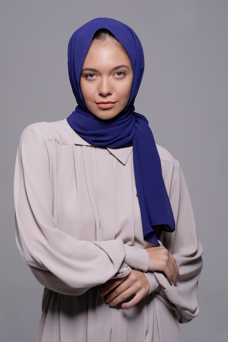 HIJAB MOUSSELINE LUXURY BLEU ATLANTIDE