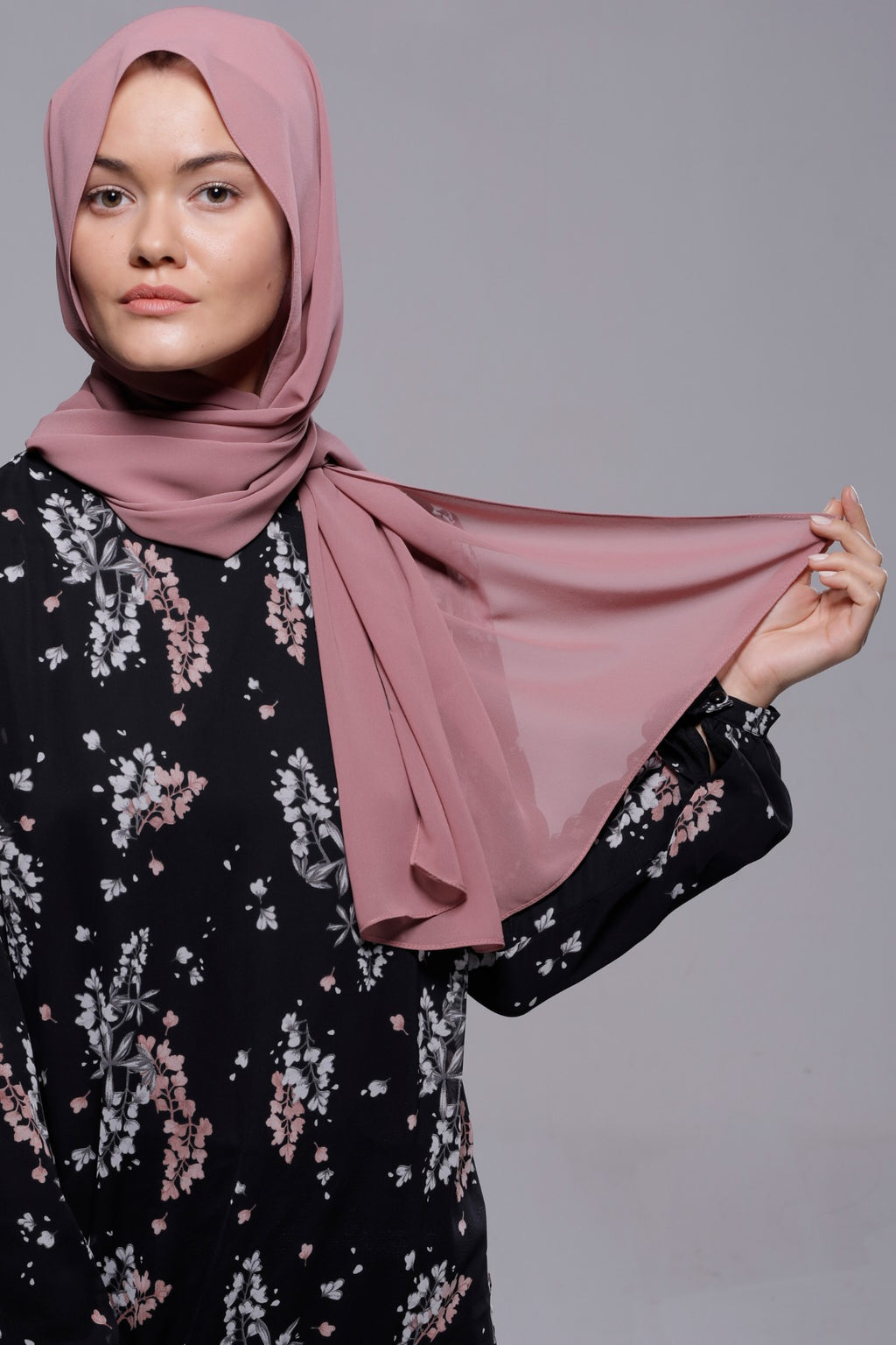HIJAB MOUSSELINE LUXURY ROSE CRÉPUSCULE