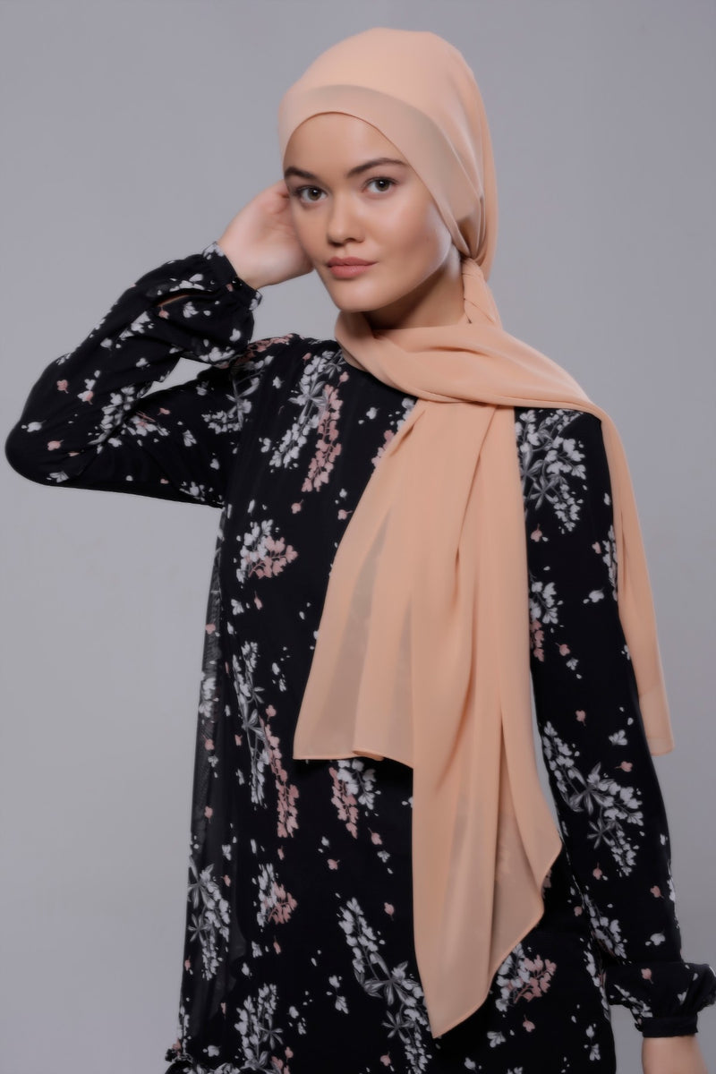 HIJAB MOUSSELINE LUXURY BEIGE CHURROS