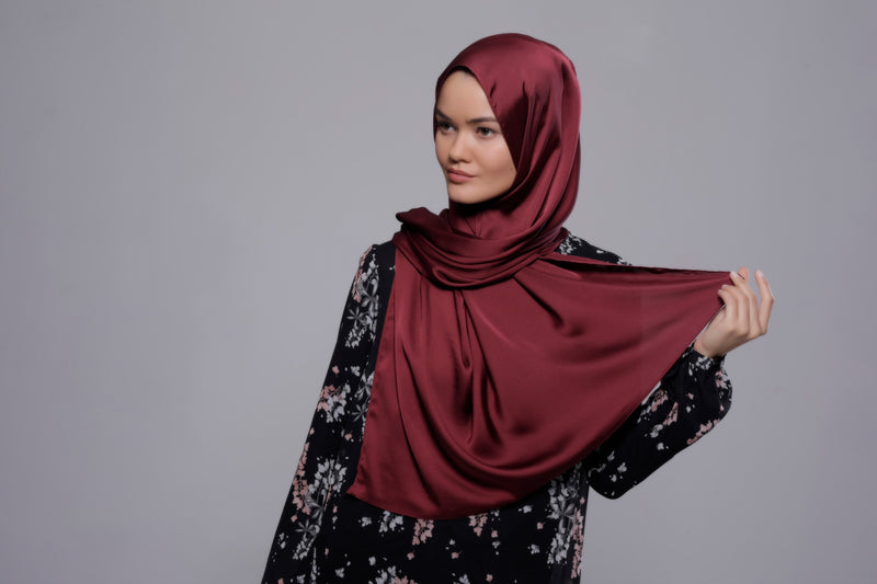 HIJAB SATIN FLUIDE BORDEAUX