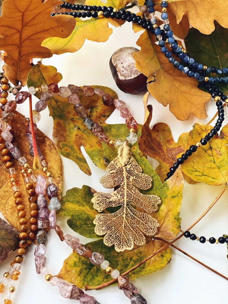 "Autumn Leaf Necklace ""Rhodochrosite"""