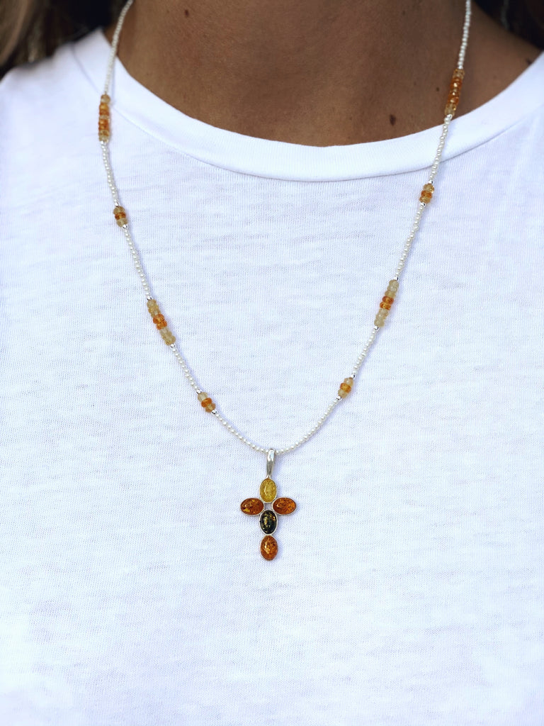 Pearly Cross Necklace