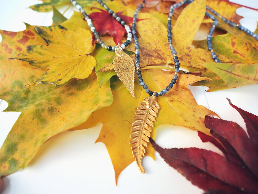 "Autumn Leaf Necklace ""Moss Agate"""